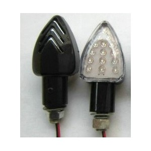 LED richting aanwijzer 25mm arm Pijl vorm met inkepingen (per paar)
